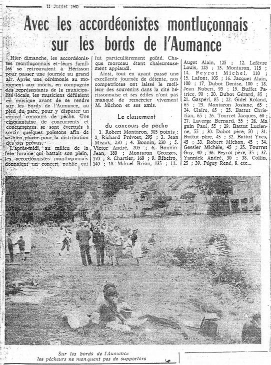 Concours de peche herisson en 1960 a