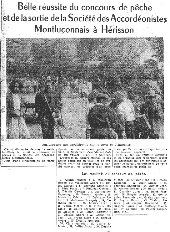 Concours de peche herisson en 1967 a